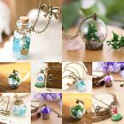 Glass Dried Flower Wish Bottle Chain Pendant Necklace Women Jewellery Wedding