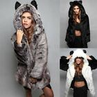 Damen Warm Faux Fur Pelz Teddy Bear Fleece Winter Hoodie Jacke Mantel Parka Coat