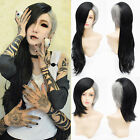 Fashion Long Wavy Wig Curly Lolita Layered Cut Hair Black+Gray Cosplay Anime