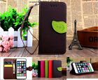 Strap leaf Leather Wallet Card Case Stand Cover For Samsung Various Smart Phone