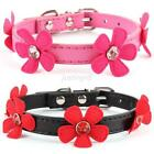 Chic New Pet Dog Cat Adjustable Collar Puppy PU Leather Flower Buckle Neck Strap
