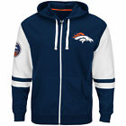 NEW Mens MAJESTIC Denver Broncos 1960 Mile High Football Blue NFL Zip Up Hoodie