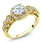 1.52 Ct White Created Sapphire 18K Yellow Gold Plated Silver Ring