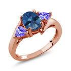 1.72 Ct Oval Royal Blue Mystic Topaz Blue Tanzanite 14K Rose Gold Ring