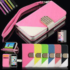 For Apple iPhone 5c PU Leather Wallet With Card Slot Flip Pouch Case Stand Cover