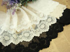MAT321 One yard White BLACK IVORY TULLE Embroidery Lace Fabric FLOWER 10CM