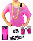 80s Mesh Top, Beads, Leg Warmers & Short Mesh Gloves Deal (2) - Various Colours