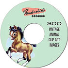 Vintage Retro 40s 50s Cute Animal Dog Cat 200 Images Digital Clipart Clip Art CD