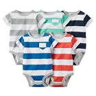Carter's Boys 5 Pack Striped Assorted Color Short Sleeve Bodysuit with Pocket De