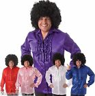 Mens 70s Disco Shirt Satin Ruffle Front Pimp Big Daddy Fancy Dress Costume M/L