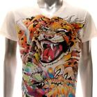 w47 M L XL Japanese Irezumi Tattoo VNECK T-shirt Tiger TORA Monster Dragon RYU