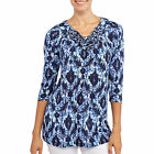 Navy Blue White & Turquoise Printed 3/4 Sleeve Tunic Top Blouse Size 4 to 20