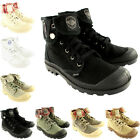 Womens Palladium Baggy Lace Up Fold Cuff Canvas Ankle High Boots New UK 3-8
