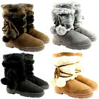 Womens Pom Pom Short Classic Fur Lined Waterproof Winter Rain Snow Boots 3-9
