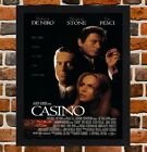 Framed Casino Movie Poster A4 / A3 Size Mounted In Black / White Frame (Ref-2)