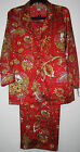 Natori Mongolia Red Satin Pajamas Cropped Length Womens Size M  Sleepwear Sets