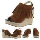Chelsea Crew Apache Women's Espadrille Fringe Wedge Sandals Shoes Boho