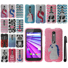 For Motorola Moto G 2015 3rd Gen XT1541 DIAMOND BLING HARD Case Phone Cover +Pen
