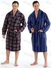 Mens Checked Striped Polar Fleece Robe Super Soft Warm Dressing Gown, M L XL XXL