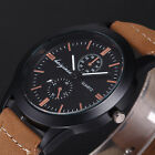 4 Colours Mens Fashion Leather Strap Black Case Wrist Quartz Watch Gift