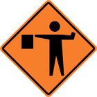 FLAGMAN FLAGGER SIGN Street Road Construction Sign - 30 x 30 3M Reflective