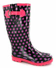 Womens Pink Polka Dot Black Wellingtons Wellies UK 3-8