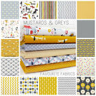 MUSTARD YELLOW & GREY 100% COTTON FABRIC dogs girls dots floral chevron retro