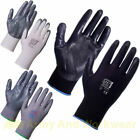 12 x Pairs Work Gloves Nitrile PU Coated Safety Builders Mechanics Construction