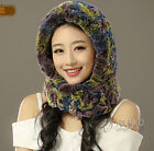 Winter Warm real Rex rabbit fur knitted neckerchief scarf Cap Shawl 4 Color Z30