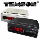 TEXSON AM FM ALARM CLOCK RADIO CR-57 BLACK SILVER RED DISPLAY - NEW