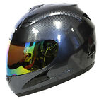 Motorcycle Full Face Helmet Carbon Fiber Black + One Free Clear Shield as Bonus