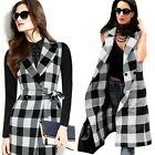Fashion Plaid Women Slim Sleeveless Long Dress Jacket Vest Trench Spring Coat