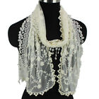 Women's Fashion Scarves Embroidery Flowers Mesh Lace Trim Tassel Long Scarf New