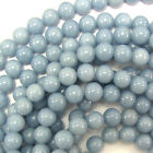 "Blue Angelite Round Beads Gemstone 16"" Strand 4mm 6mm 8mm 10mm 12mm 14mm"
