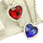 New Titanic Heart of The Ocean Blue Red Crystal Necklace Pendant in Box 2 Colors