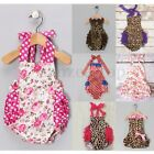 Baby Girls Halter Floral Backless Strap Romper Dress Jumpsuit Outfit One-piece