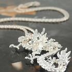 Vintage Dragon Pendant Necklace Crystal Silver Gold Chain Jewelry Women's Y3P2