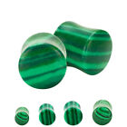 Natural Green Malachite Stone Organic Saddle Plugs Pair