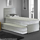 New - Hf4you 3FT Single 3 In 1 Divan Guest Bed - Silver Crushed Velvet