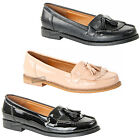 Womens Ladies flat smart slip on tassel fringe office school loafers shoes size