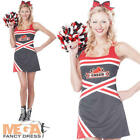 Cheerleader + Pom Poms Fancy Dress Ladies Sports Womens Adults Costume Outfit