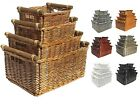 Willow Wicker Storage Basket Kitchen Log Xmas Gift Hamper Basket + Handles
