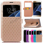 Flip Leather View Window Wallet Card Slot Stand Case Cover For Various Phones