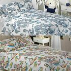 HARBOUR NAUTICAL BOAT PRINTED DUVET COVER QUILT SET EASY CARE BLUE MULTI