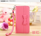 Leather Flip Wallet Luxury Card Holder Case Stand Wristlet Cover For iPhone