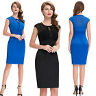 Vintage 50'S 60'S Black/Blue Retro Swing Pinup Cocktail Prom Party Pencil Dress