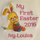 Personalised My First Easter Baby Bib 2017 Embroidered Bunny New Baby Gift
