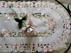 """Pink Princess Rose Sheer  Lace table Runner Doily  43"""""""