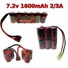 7.2V 1600mah 2/3A NiMH Premium 'RC' Radio Control Battery Packs Custom Connector