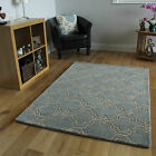 Luxury High End Thick Duckegg Blue Wool Rugs Modern 3D Trelis Design Carpet Mats